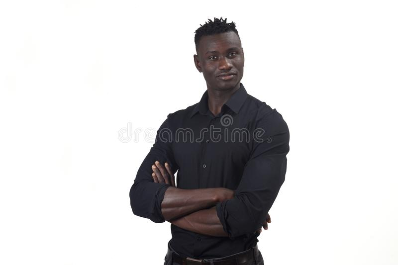 一个非洲人胳膊的画象在whte横渡了 库存图片