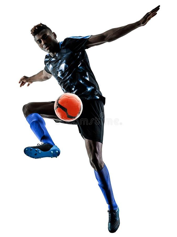 一个非洲足球运动员人隔绝了白色背景silhouet 库存照片