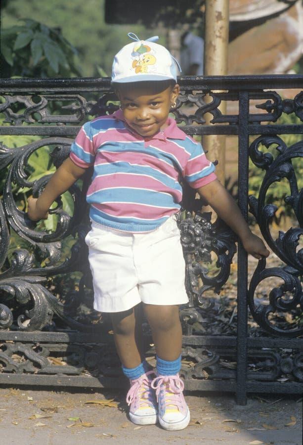 一个非裔美国人的女孩在夏天,大草原, GA穿戴了 库存照片