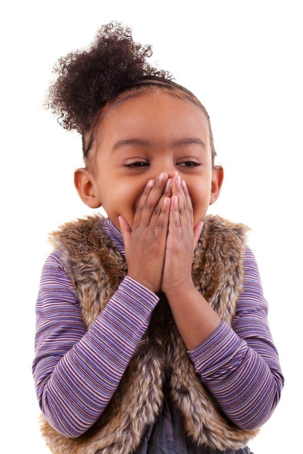 一个非裔美国人的小女孩的画象-黑人 库存图片