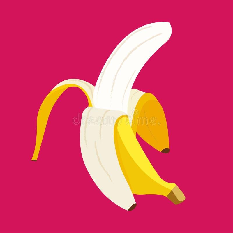 一个香蕉的传染媒介图象在黑暗的桃红色背景的 皇族释放例证