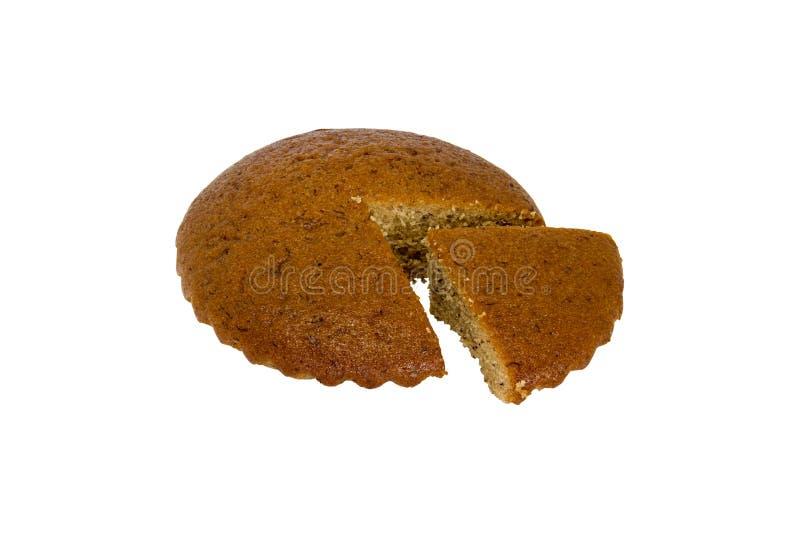 一个香蕉蛋糕和删去隔绝在白色背景 免版税库存照片