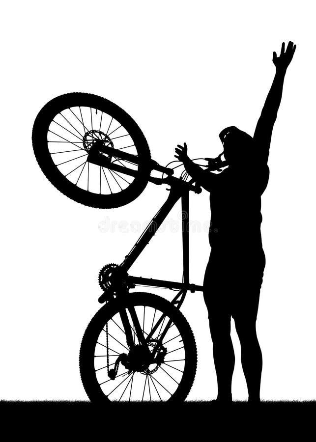 一个骑自行车者的剪影有登山车的 库存例证