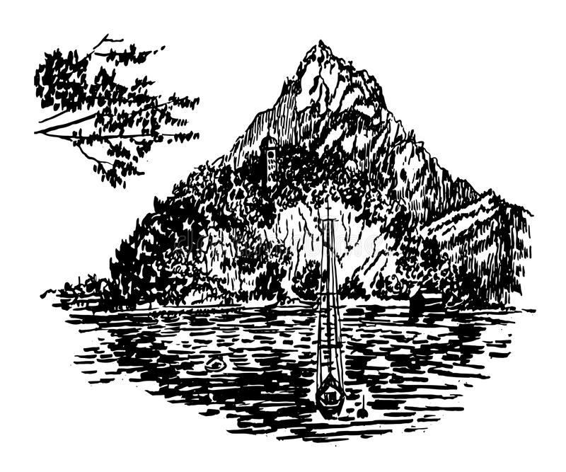 一个高山湖的图画视图有一个美丽的海岛的山例证背景的  向量例证