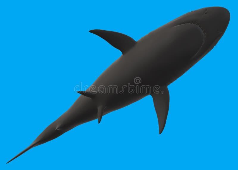 一个鲨鱼的剪影从下面的反对一个深刻的蓝色海颜色背景 向量例证