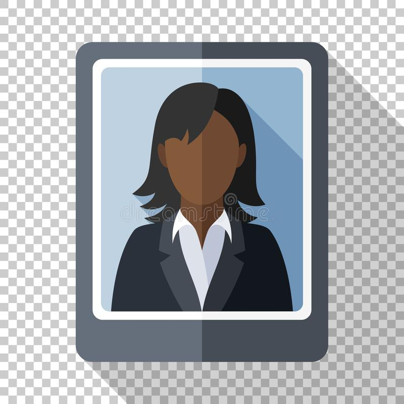 一个黑人妇女的照片一套西装的有在透明背景的长的阴影的 库存例证