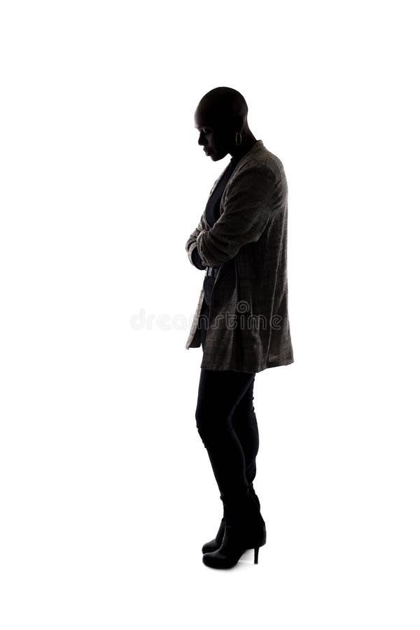 一个黑女性模型的剪影压下了 免版税库存照片