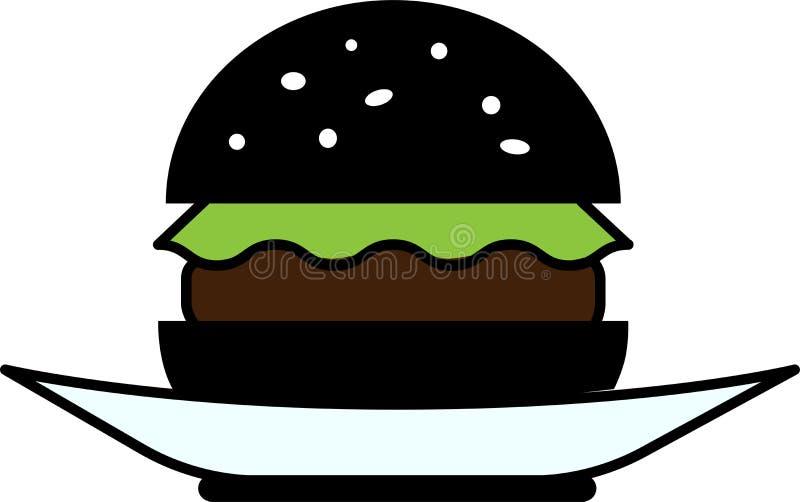 一个黑汉堡包的色的象正面图用莴苣和剁在板材 库存例证