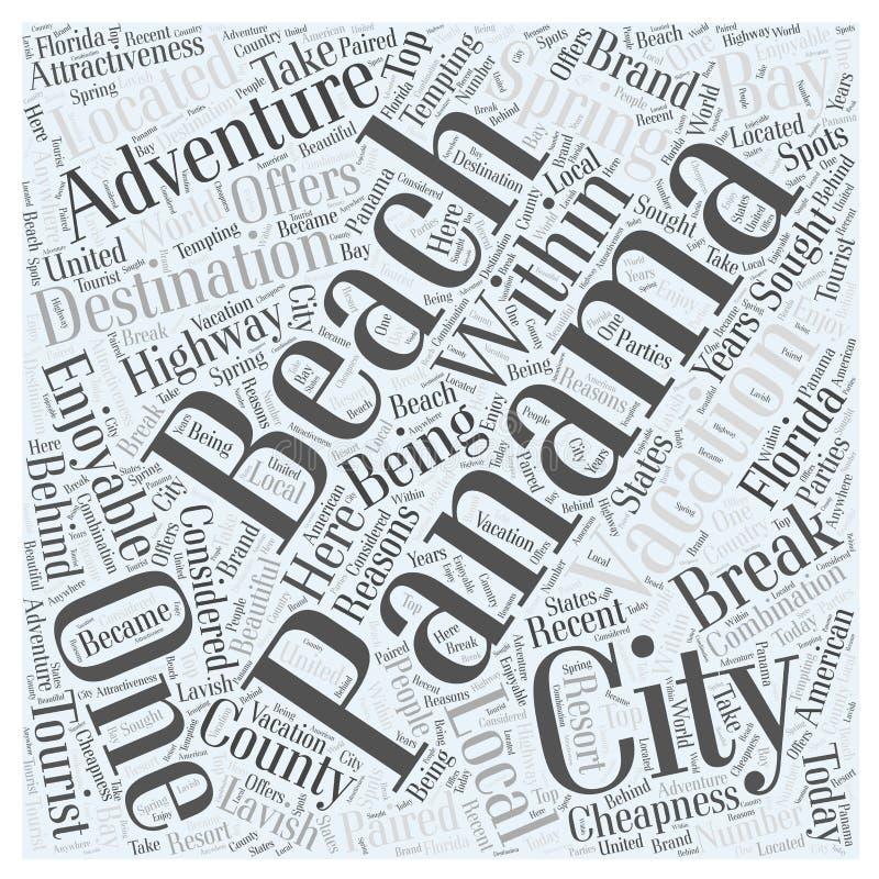 一个令人愉快的冒险假期在巴拿马市词云彩概念背景中 皇族释放例证