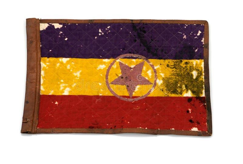 一个1939名共和党人装甲的旅团的信号旗 西班牙内战2 库存图片