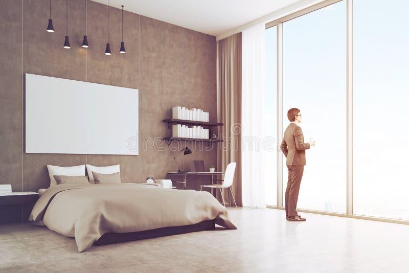 一个年轻商人的侧视图在他的卧室窗口附近的,被定调子 皇族释放例证