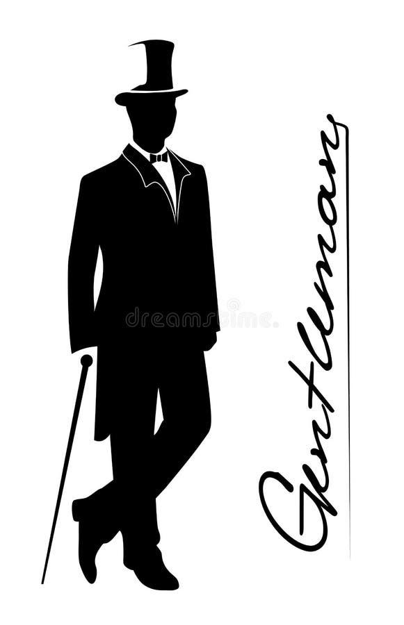 一个绅士的剪影无尾礼服的 向量例证