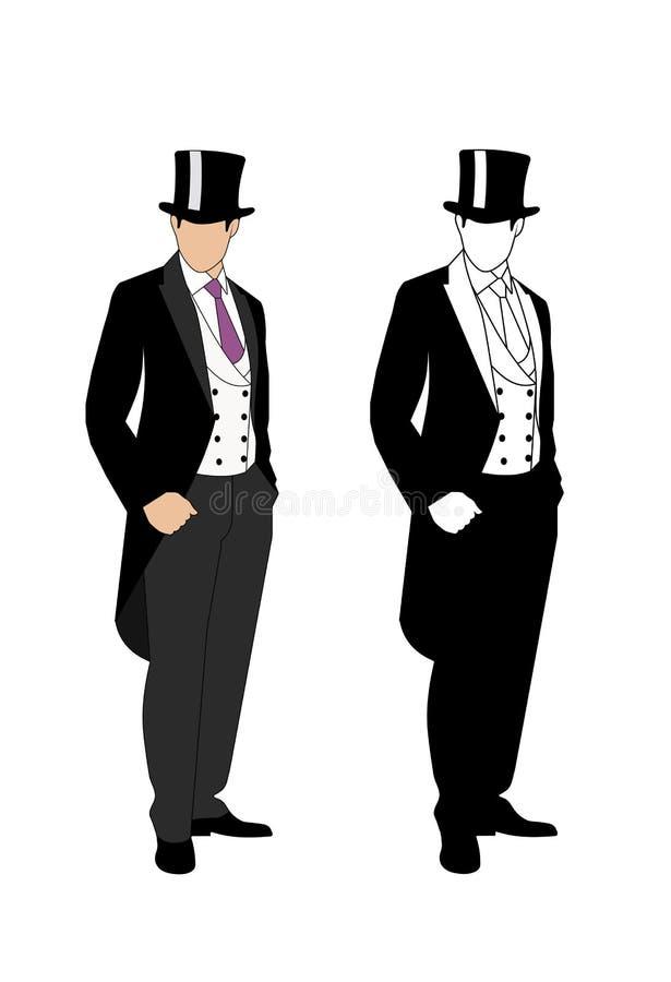 一个绅士的剪影无尾礼服的 皇族释放例证