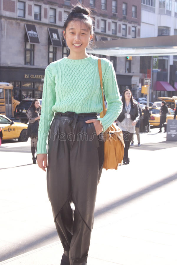 一个年轻客人纽约时尚星期 库存照片