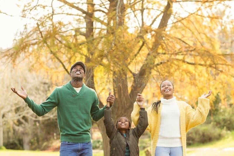 一个年轻家庭的画象与被举的胳膊的 图库摄影