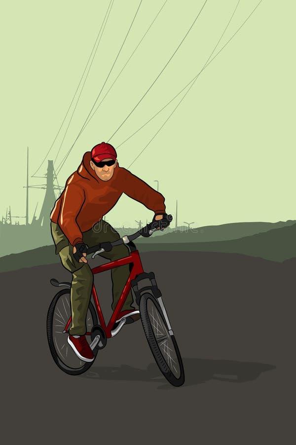 一个登山车的骑自行车者在高压塔背景  向量例证