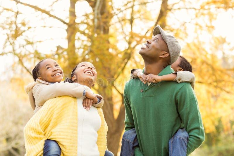 一个年轻微笑的家庭的画象扛在肩上 免版税库存照片