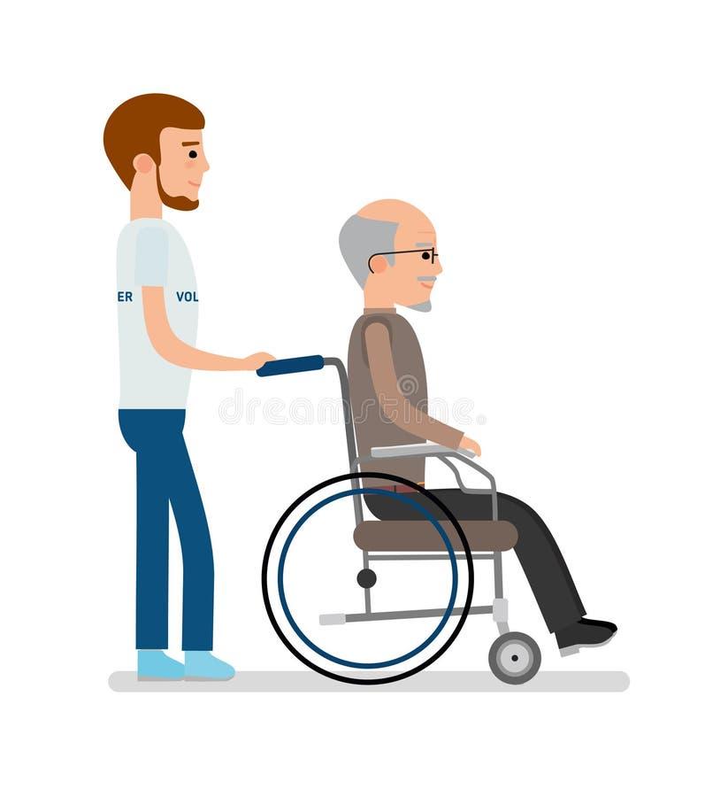一个年轻志愿者运载轮椅的一个年长人 向量例证