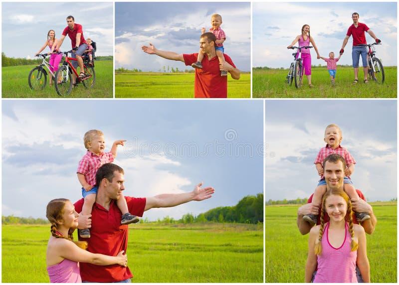 愉快的家庭拼贴画  免版税库存图片
