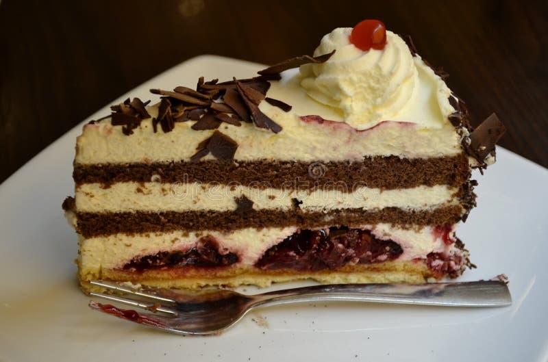 一个黑森林蛋糕的细节 库存图片