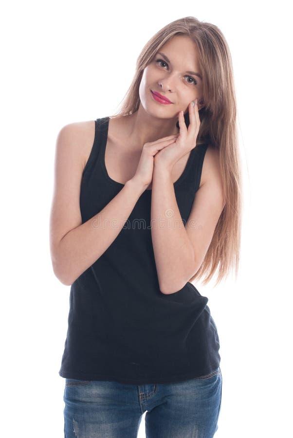 一个年轻美丽的女孩的画象有长的头发的在演播室 库存照片