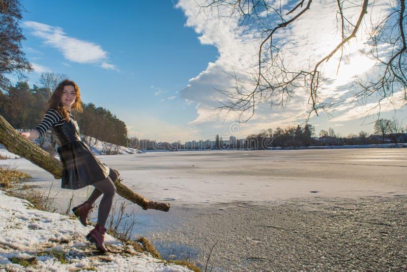 一个年轻美丽的红色头发欧洲女孩的画象由皮肤做的礼服的 免版税库存照片