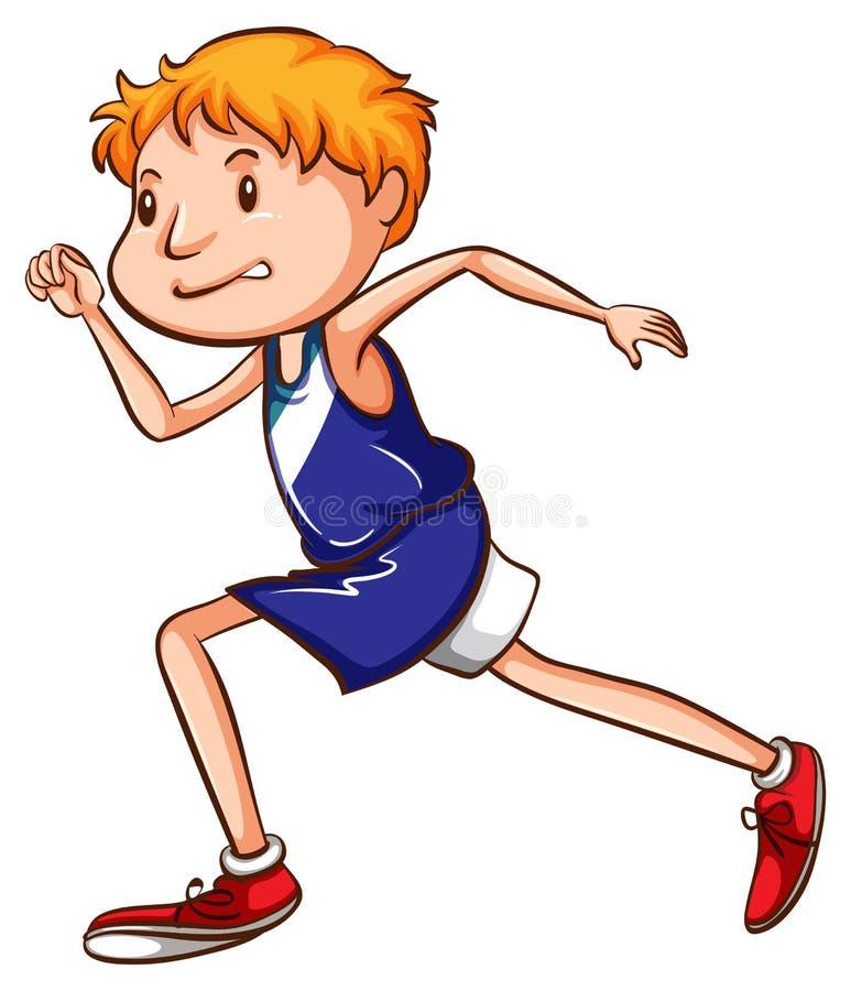 一个年轻赛跑者的一张色的图画 库存例证