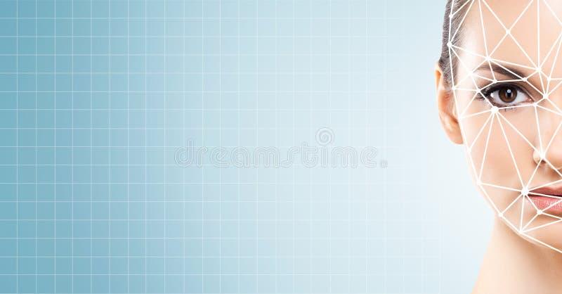 一个beautifyl女孩的面孔有一个scnanning的栅格的在她的面孔 面孔id,安全,面部公认,认证 库存图片
