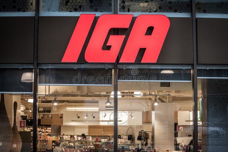 一个IGA超级市场超级市场的Ntrance有它的商标的 亦称独立菜市场联盟,这是其中一个主要美国超级市场 库存照片