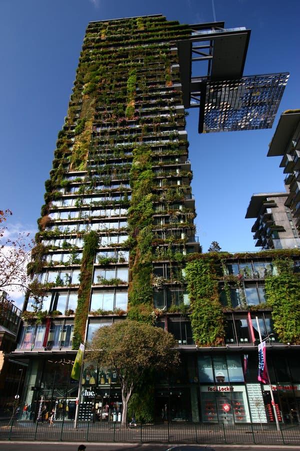 一中央公园让・努维尔,悉尼,澳大利亚 与植物园的现代高层塔帕特里克布朗 免版税库存照片