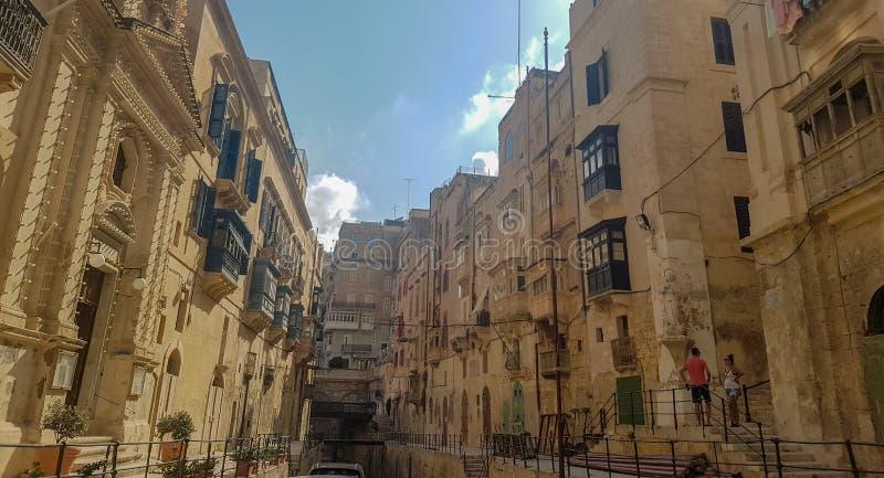 一些大厦在瓦莱塔,马耳他 免版税图库摄影