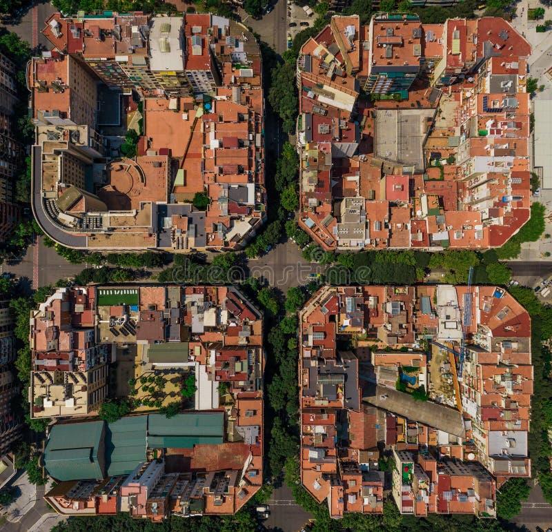 一些大厦地区看法在巴塞罗那, Kataluna 免版税库存图片