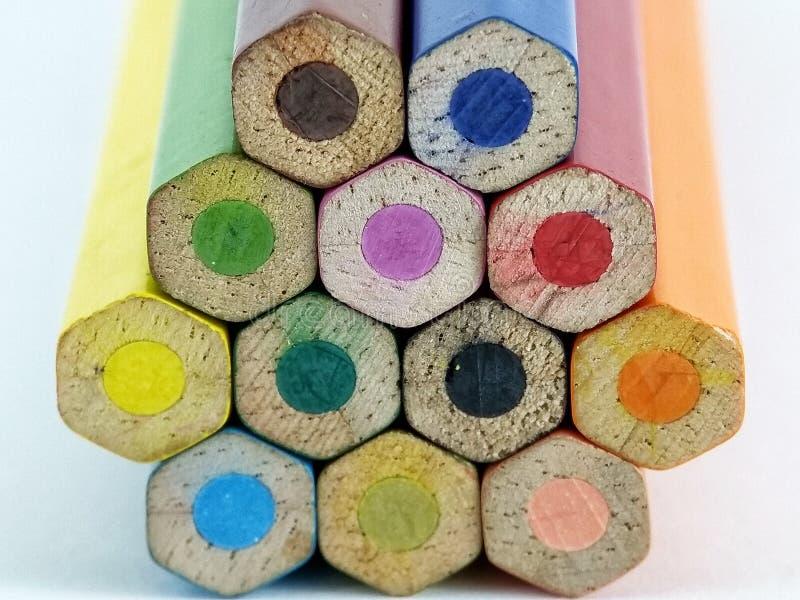 一些色的铅笔标尺 免版税库存照片