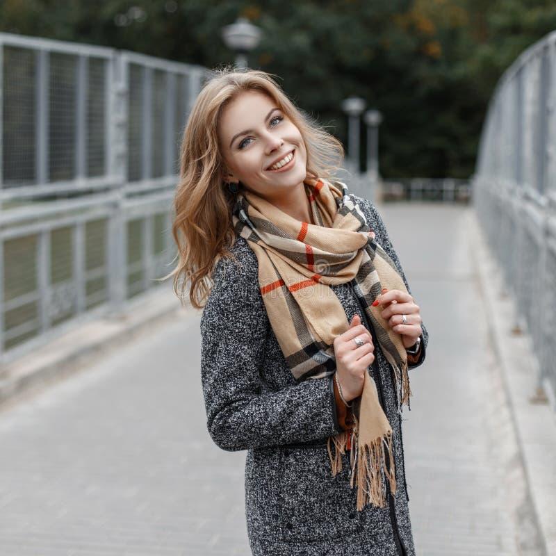 一件典雅的时髦的外套的快乐的快乐的年轻女人在摆在桥梁的葡萄酒方格的围巾身分在金属篱芭附近 库存照片