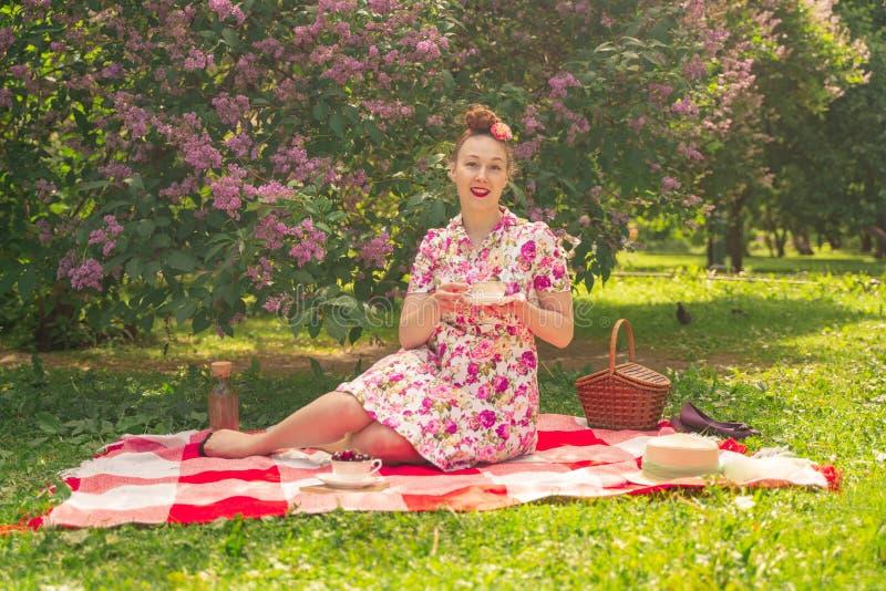 一件夏天礼服的甜心迷人的画报女孩在一条方格的毯子在丁香附近灌木的公园享用生活和leisu 库存图片