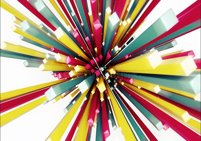 一件多彩多姿的光芒艺术品的抽象艺术性的3d计算机生成的例证 库存例证