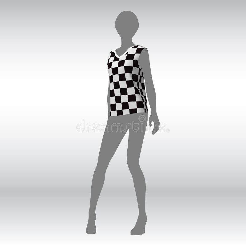 一件女性T恤杉的样品的嘲笑在模型的一个平的剪影的 组织纹理在笼子的 也corel凹道例证向量 库存例证