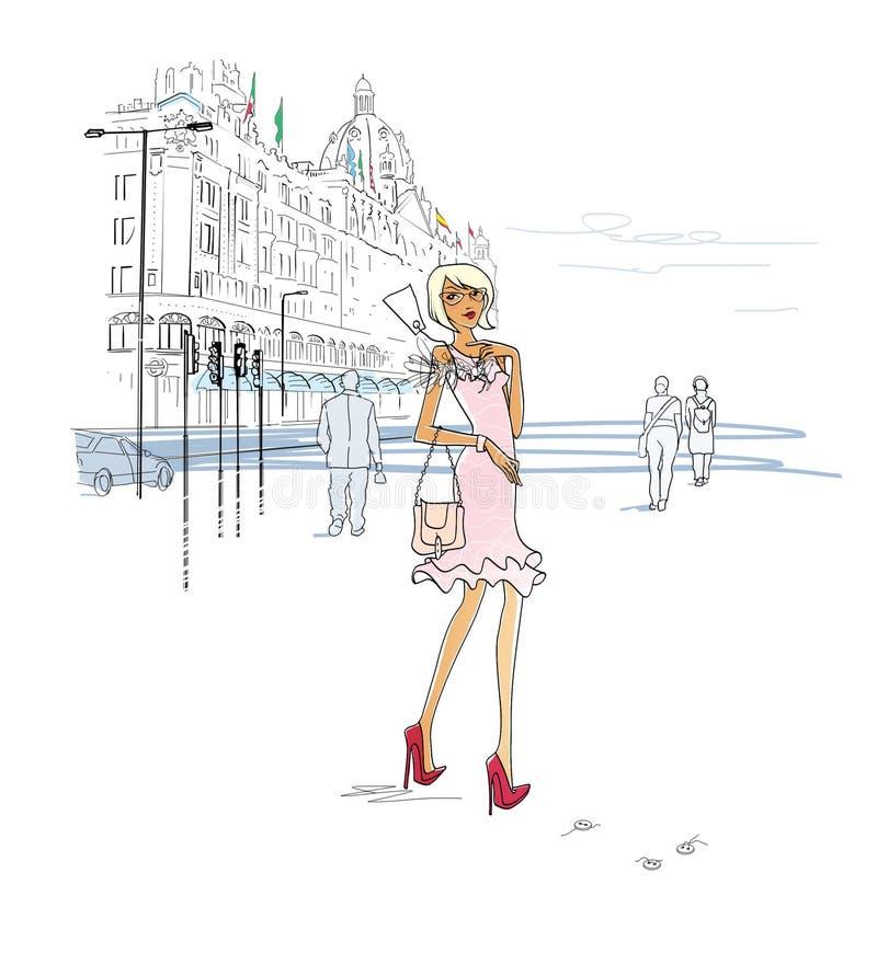 一件时兴的礼服的少女有在衣领的价牌的在百货店附近 ?? 城市剧情 : 向量例证