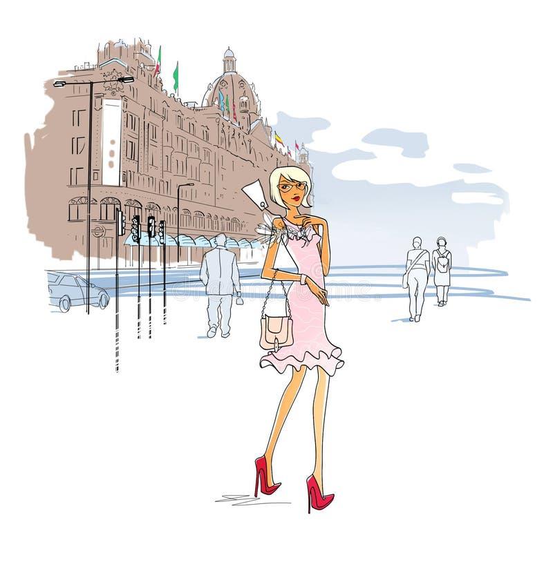 一件时兴的礼服的少女有在衣领的价牌的在百货店附近 ?? 城市剧情 : 库存例证