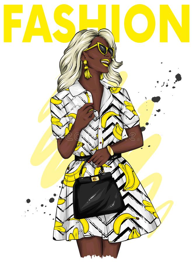 一件时髦的夏天礼服和玻璃的美女 ottyki的传染媒介例证或海报,在衣裳的印刷品 ??&?? 皇族释放例证