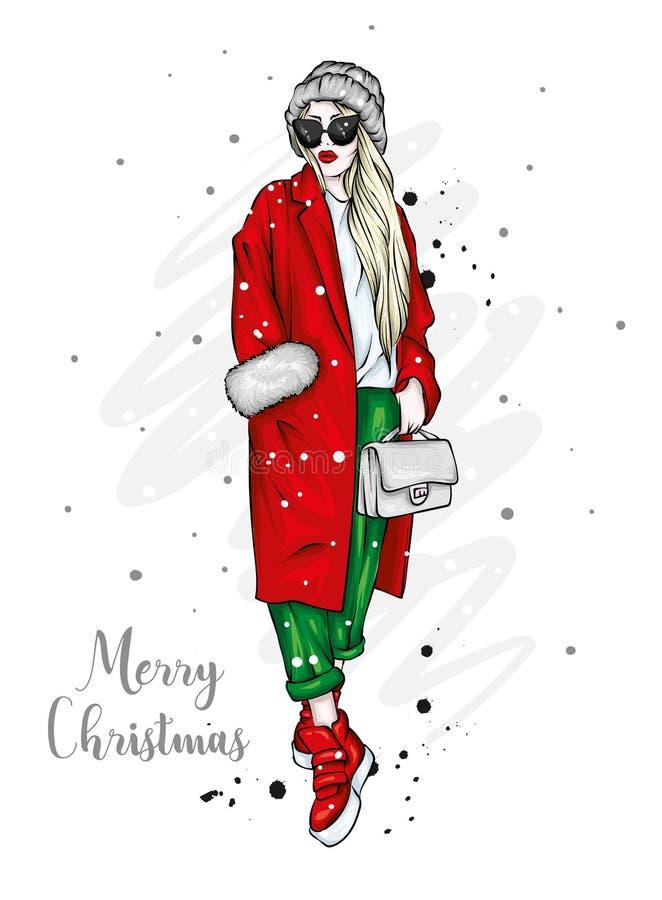 一件时髦的外套、长裤和玻璃的美丽,高和苗条女孩 高跟鞋的时髦的妇女 时尚&样式 库存例证