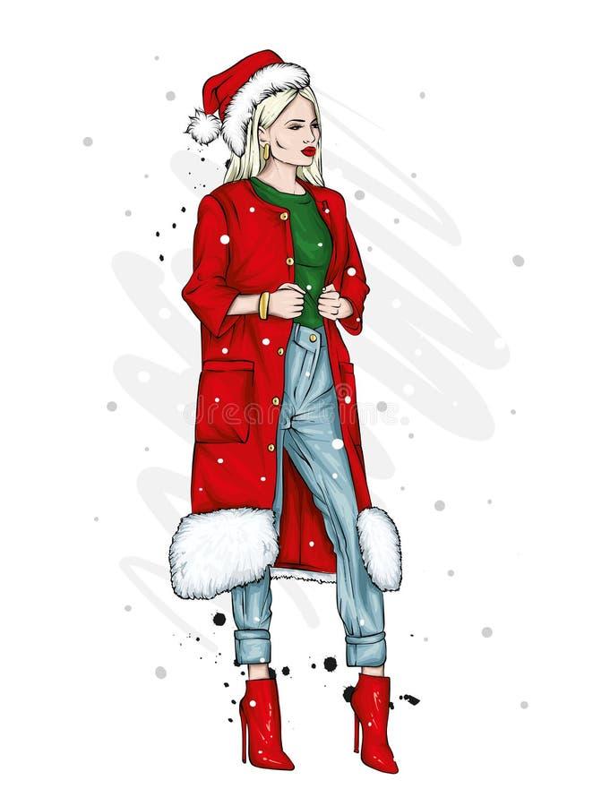 一件时髦的外套、长裤和玻璃的美丽,高和苗条女孩 高跟鞋的时髦的妇女 时尚&样式 向量例证