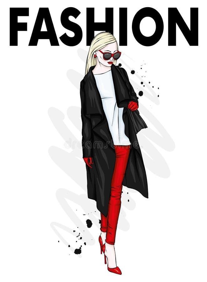 一件时髦的外套、长裤和玻璃的美丽,高和苗条女孩 高跟鞋的时髦的妇女 时尚&样式 Ve 皇族释放例证