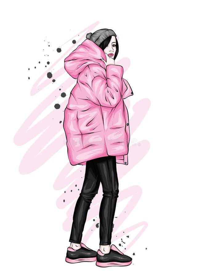 一件时髦的外套和长裤的美丽,高和苗条女孩 高跟鞋的时髦的妇女 时尚&样式 库存例证