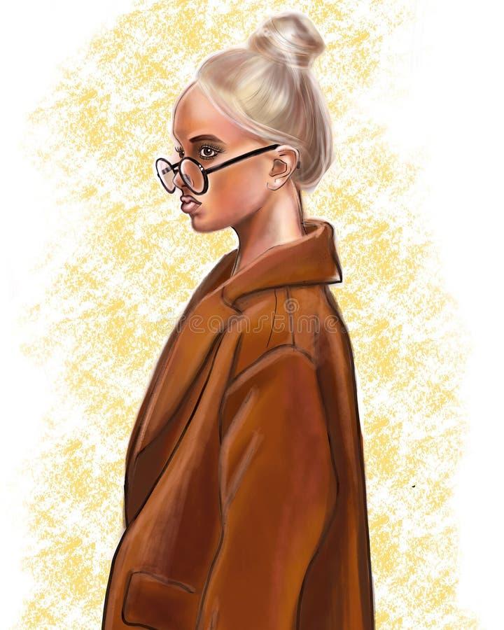 一件棕色外套的一个女孩 向量例证
