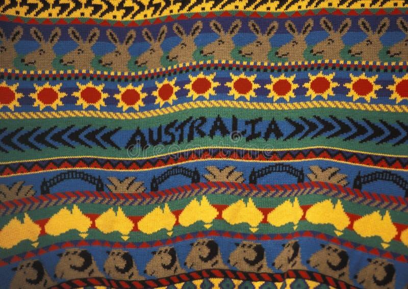一件毛线衣的细节有澳大利亚设计的 库存照片