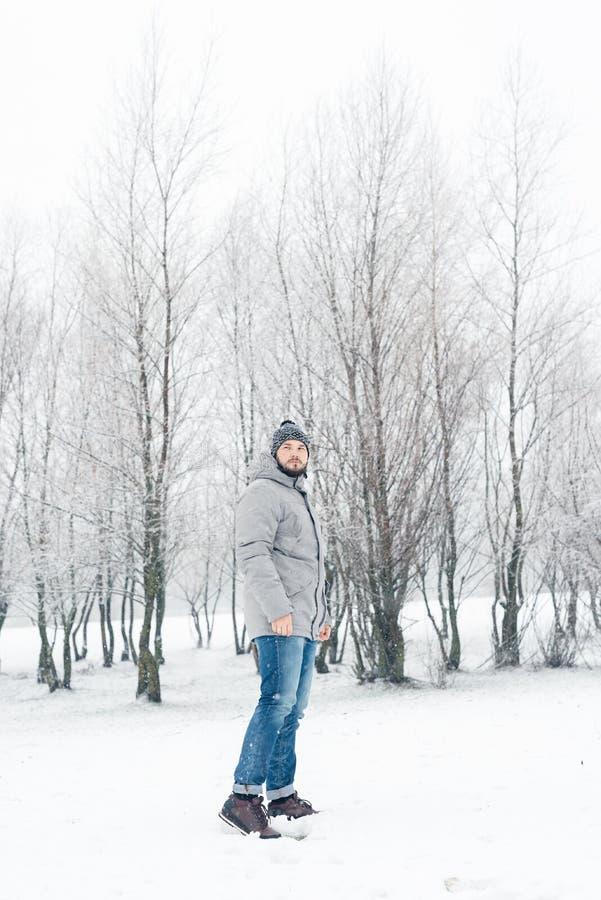 一件灰色夹克的一个人在冬天森林里 免版税库存图片