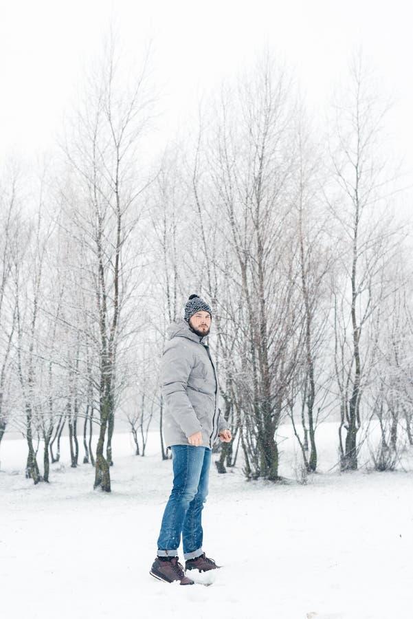 一件灰色夹克的一个人在冬天森林里 库存图片