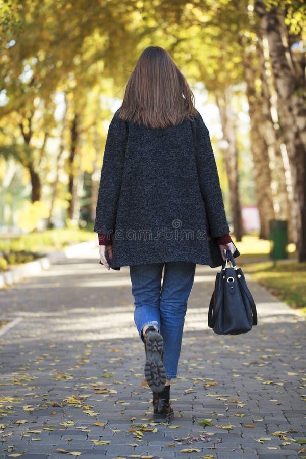 一件灰色羊毛外套的深色的妇女 库存照片