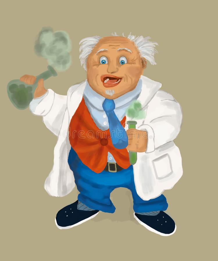 一件白色实验室外套的医生教授有电灯泡的 向量例证